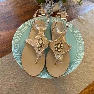 Jack Rogers Maci jeweled thong sandals in platinum